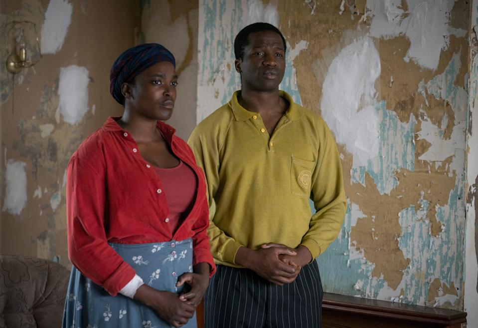 """Wunmi Mosaku and Ṣọpẹ Dìrísù are Sudanese refugees who find horrors after they arrive in England in """"His House."""""""