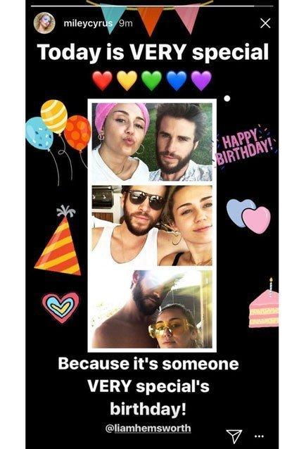 The birthday tribute in question. (mileycyrus via Instagram)