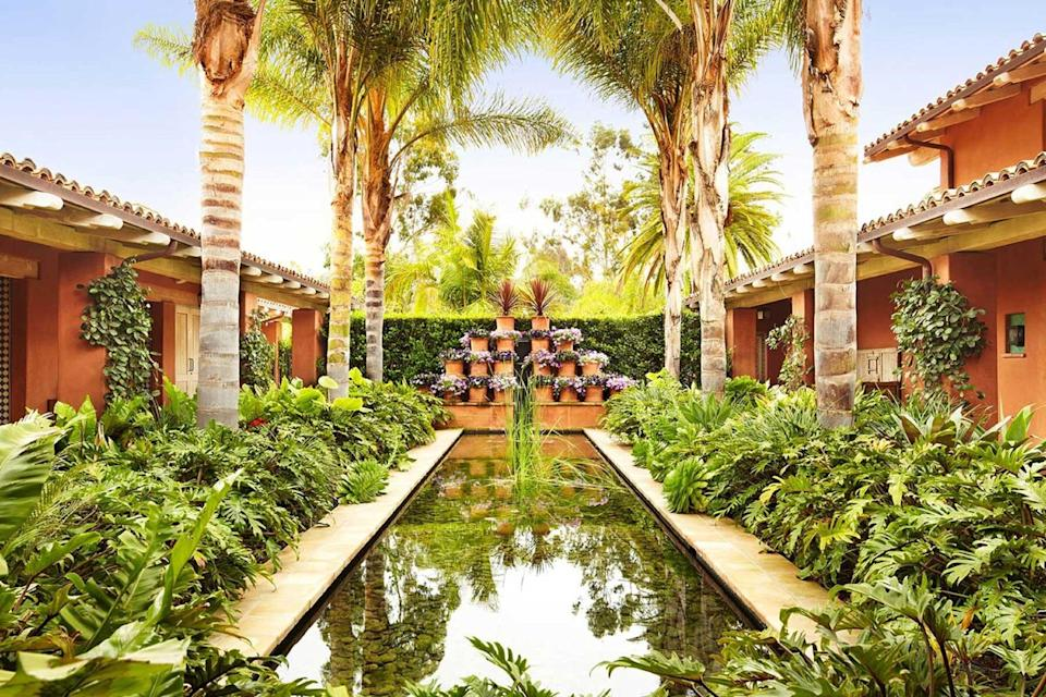 Spa courtyard at Racho Valencia, voted one of the best hotels in the world