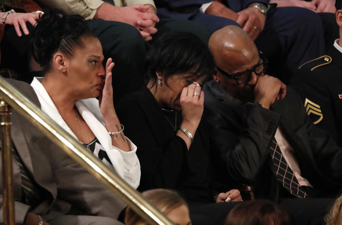 <p>Guests in the first lady's box cry as Trump introduces them during his State of the Union address to a joint session of Congress on Capitol Hill in Washington, D.C., Jan. 30. (Photo: Jonathan Ernst/Reuters) </p>