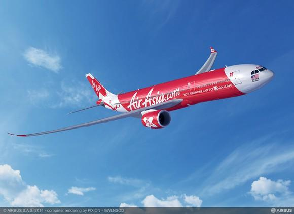 A rendering of an A330-900neo in the AirAsia X livery