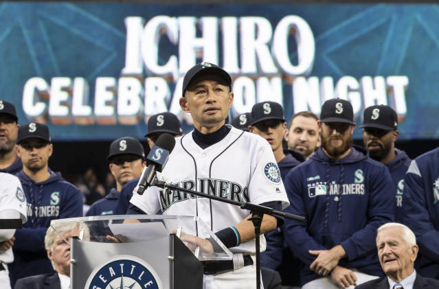 Former Seattle Mariners player Ichiro Suzuki gave an emotional speech as part of the team's weekend festivities staged in his honor. (AP Photo)