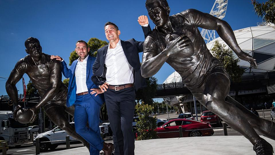 Cameron Smith and Billy Slater, pictured here with their statues outside AAMI Park.
