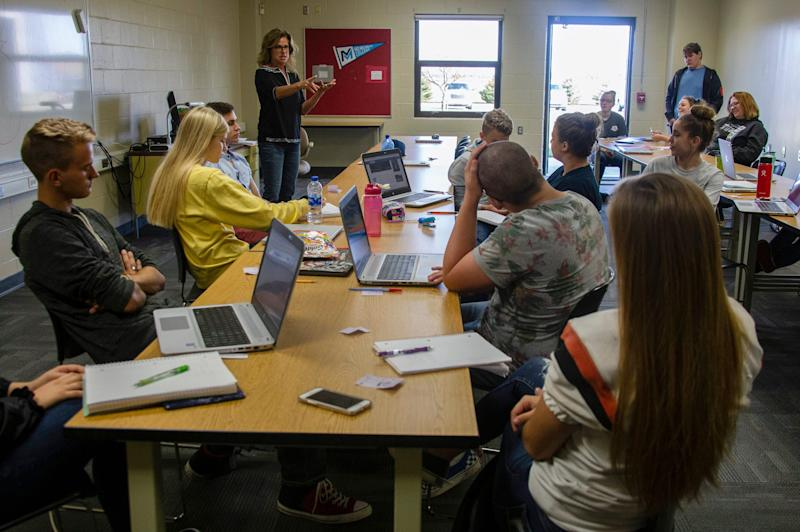 Julie Carr, an adjunct professor of speech from Mid-Michigan Community College, teaches at Huron Area Technical Center on Sept. 19, 2019, as part of a move to get higher education to areas without access to college.