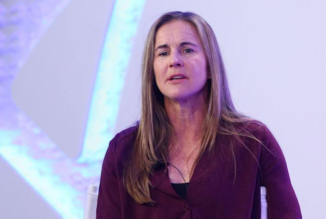 United States women's soccer legend Brandi Chastain speaks during a panel Friday at the International Champions Cup launch event in New York. (Getty)