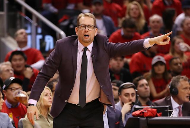 Head coach Nick Nurse reacts against the Milwaukee Bucks. (Credit: Getty Images)