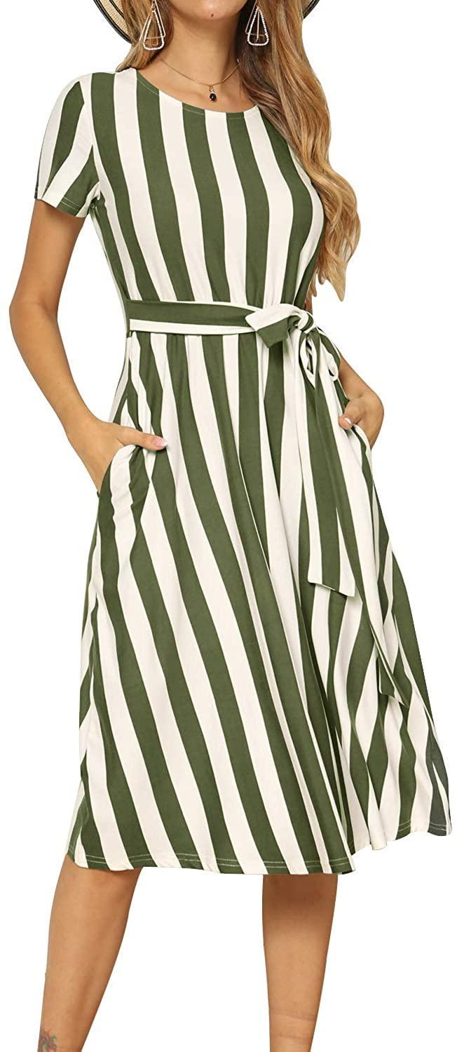 """<br><br><strong>Levaca</strong> Wide Stripe Midi Dress, $, available at <a href=""""https://www.amazon.com/dp/B07QG1FN7F/ref=sspa_dk_detail_2"""" rel=""""nofollow noopener"""" target=""""_blank"""" data-ylk=""""slk:Amazon"""" class=""""link rapid-noclick-resp"""">Amazon</a>"""
