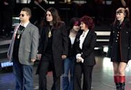 (From left to right) Jack, Ozzy, Kelly, Sharon and Aimee Osbourne on stage at the Olympic Torch Concert in The Mall, central London a free concert organised by Visit London.