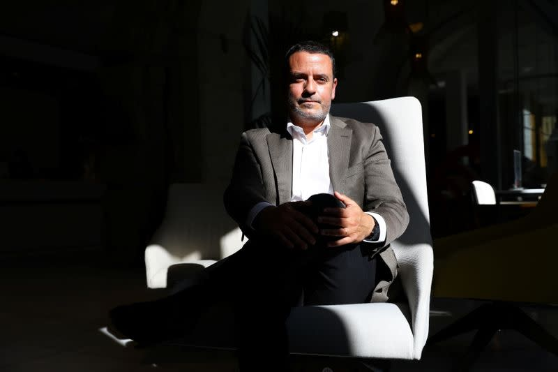NH Collection Hotel general manager Francisco Viana Brito poses for a portrait as Portugal's northern city of Porto prepares to host the Champions League's final match and hotels and bars hope for a boost after the tourism sector was ravaged by the coronav