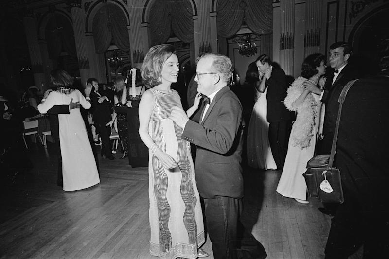 Lee Radziwill in Mila Schön with Truman Capote at his Black and White Ball, 1966.