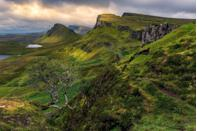 "<p><a href=""https://www.tripadvisor.com/Tourism-g186585-Isle_of_Skye_The_Hebrides_Scotland-Vacations.html"" rel=""nofollow noopener"" target=""_blank"" data-ylk=""slk:The Isle of Sky"" class=""link rapid-noclick-resp"">The Isle of Sky</a>, meaning ""cloud island,"" is a 50-mile jagged landscape with soaring sea cliffs and phenomenal mountain scenery. </p>"