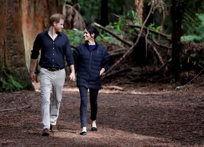 FILE PHOTO: Britain's Prince Harry and Meghan, Duchess of Sussex walk through a Redwoods forest in Rotorua, New Zealand, Wednesday