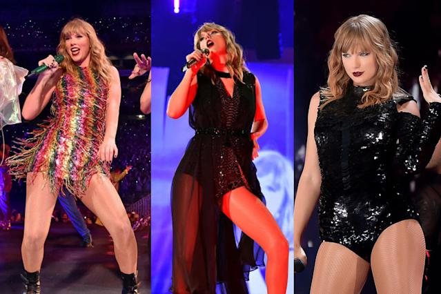 A few of Swift's tour looks. (Photo: Getty Images)