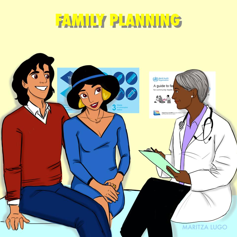 Aladdin and Jasmine are planning to start a family! Click through to see what the other Disney princesses went to the gynecologist to learn about.