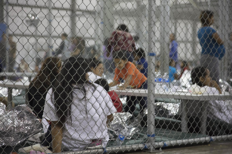 Unauthorized immigrants detained at a center in McAllen, Texas, in a photo provided by U.S. Customs and Border Protection. A top Mexican official said a girl with Down syndrome was being held there. (U.S. Customs and Border Protection via Getty Images)
