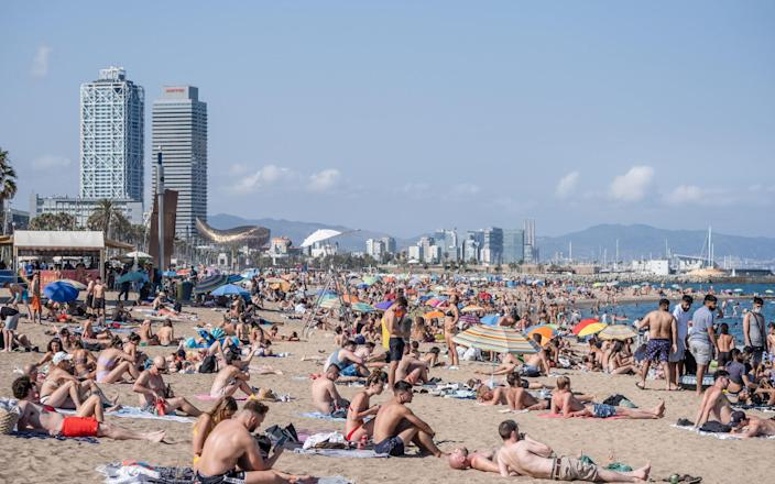 Barcelona's beaches reached capacity over the weekend - Getty