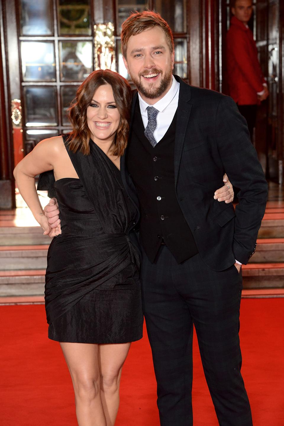 Caroline Flack (L) and Iain Stirling attend the ITV Gala held at the London Palladium on November 9, 2017 in London, England.  (Photo by Dave J Hogan/Dave J Hogan/Getty Images)