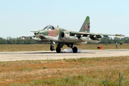 A Su-25 fighter jet which took part in the Russian mission in Syria lands at a military airport in Krasnodar Region Russia