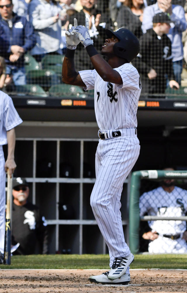 Chicago White Sox's Tim Anderson (7) reacts after hitting a home run against the Seattle Mariners during the seventh inning of a baseball game in Chicago, Saturday, April 6, 2019. (AP Photo/Matt Marton)