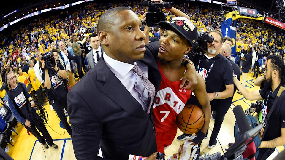 Masai Ujiri had the biggest moment of his career ruined by the police. (Photo by Andrew D. Bernstein/NBAE via Getty Images)