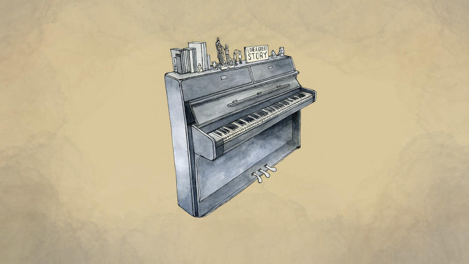 An illustration made from a photo of Hannelore Cruz's piano provided by grandson José Miguel Cruz da Costa. (AP Illustration/Peter Hamlin)