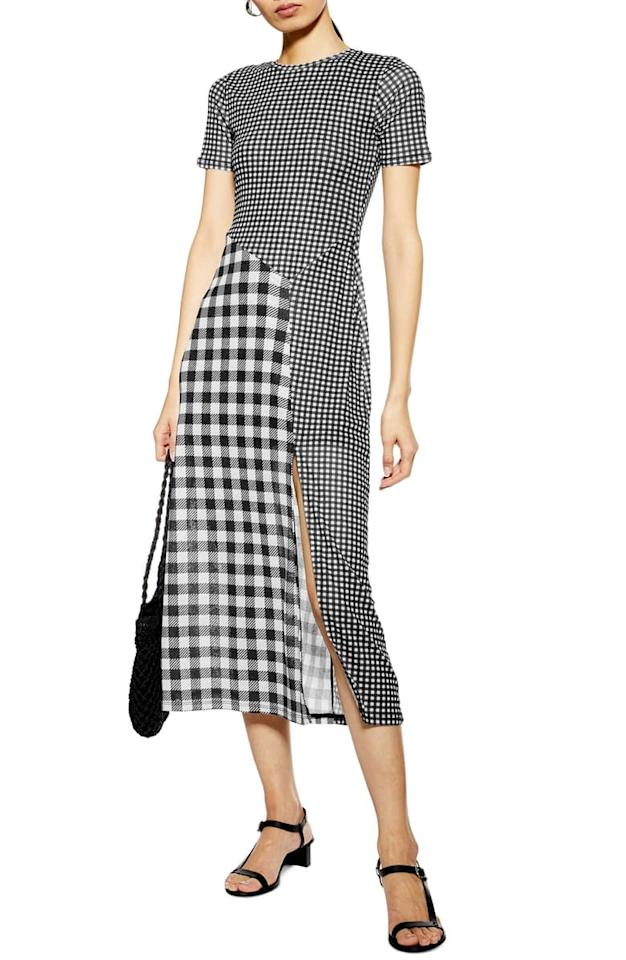 "<p>This <a href=""https://www.popsugar.com/buy/Topshop%20Gingham%20Midi%20Dress-471995?p_name=Topshop%20Gingham%20Midi%20Dress&retailer=shop.nordstrom.com&price=68&evar1=fab%3Aus&evar9=46417883&evar98=https%3A%2F%2Fwww.popsugar.com%2Ffashion%2Fphoto-gallery%2F46417883%2Fimage%2F46417884%2FTopshop-Gingham-Midi-Dress&list1=shopping%2Cdresses%2Ctopshop%2Csummer%20fashion&prop13=api&pdata=1"" rel=""nofollow"" data-shoppable-link=""1"" target=""_blank"" class=""ga-track"" data-ga-category=""Related"" data-ga-label=""https://shop.nordstrom.com/s/topshop-gingham-midi-dress/5323833?origin=category-personalizedsort&amp;breadcrumb=Home%2FWomen%2FClothing%2FDresses&amp;color=black%20multi"" data-ga-action=""In-Line Links"">Topshop Gingham Midi Dress</a> ($68) is a perfect lesson in pattern play.</p>"