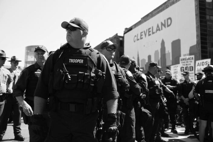 <p>South Carolina troopers stand outside an entrance to the Quicken Loans Arena. (Photo: Khue Bui/Yahoo News)</p>