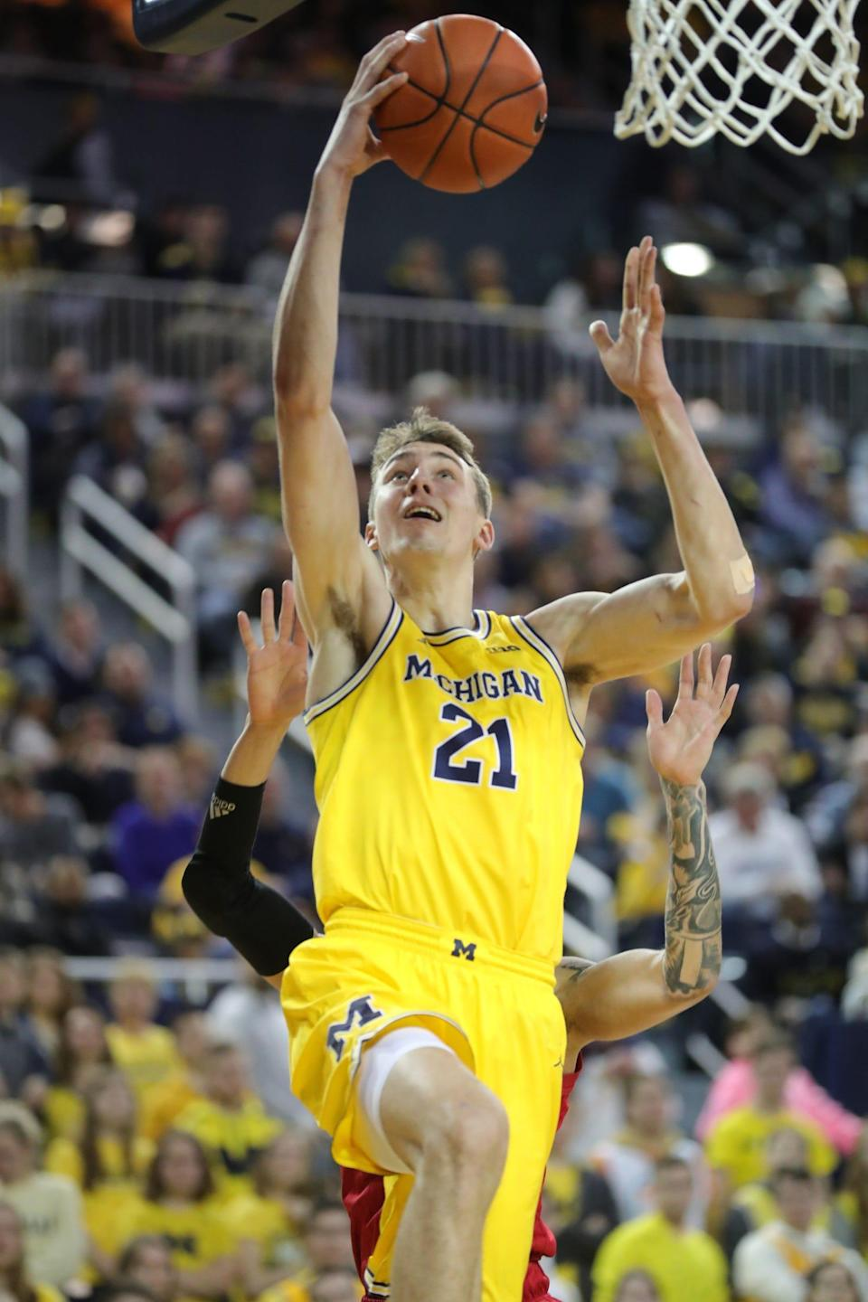 Michigan's Franz Wagner scores against Nebraska during the second half Thursday, March 5, 2020 at the Crisler Center in Ann Arbor.