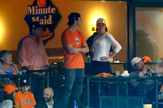 Kate Upton during Game 3 of the 2017 World Series at Minute Maid Park on Oct. 27, 2017, in Houston. (Photo: Getty Images)