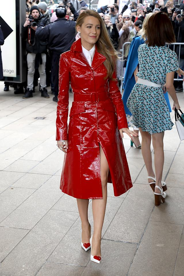 <p>Making a striking appearance at New York Fashion Week, Blake dressed in a red vinyl coat by the designer which she paired with playful heart pumps. <br /><em>[Photo: Getty]</em> </p>