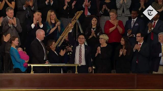 """Donald Trump used the harrowing story of a North Korean defector to highlight the brutality of Kim Jong-un's regime during his State of the Union address on Tuesday night. Ji Seong-ho, who was among the guests of honour for the president's speech to Congress, was hailed as """"an inspiration to us all"""" and received a standing ovation from the lawmakers. The president described how Mr Ji was a """"starving boy in North Korea"""" 22 years ago when he tried to steal coal from a train to barter for food. """"In the process, he passed out on the train tracks, exhausted from hunger. He woke up as a train ran over his limbs,"""" Mr Trump said. Mr Ji lost his left leg above the knee and his left hand at the wrist, enduring """"amputations without anything to dull the pain"""". North Korean defector Ji Seong-ho is acknowledged by U.S. President Trump as he delivers his State of the Union address in Washington Credit: Reuters The president said Mr Ji was later tortured after returning from a brief trip to China. """"His tormentors wanted to know if he had met any Christians. He had - and he resolved to be free,"""" the president said. In 2006, Mr Ji escaped North Korea via the Tumen River. """"I knew from that point, the next time I go to North Korea will be when reunification finally happens,"""" he said in a 2012 interview, recalling the moment he pulled himself out of the water and onto the banks of the Chinese side. Mr Trump described how """"Seong-ho travelled thousands of miles on crutches across China and Southeast Asia to freedom. Most of his family followed. His father was caught trying to escape, and was tortured to death"""". When he arrived in South Korea, the doctors were shocked at his condition. """"They said that of all the North Koreans that make it here, someone with such disabilities was rare to see,"""" Mr Ji said in the interview. The 35-year-old now helps rescue other defectors from North Korea and """"broadcasts into North Korea what the regime fears the most - the truth"""", Mr Trump said. """"Seong-ho's """
