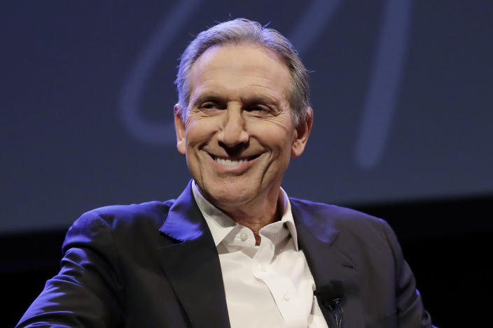 """FILE - In this Jan. 31, 2019, file photo, former Starbucks CEO Howard Schultz speaks at an event to promote his book, """"From the Ground Up,"""" in Seattle. China's President Xi Jinping is asking Schultz to help repair U.S.-Chinese relations that have plunged to their lowest level in decades amid a tariff war and tension over technology and security. (AP Photo/Ted S. Warren, File)"""