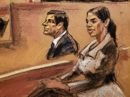 "Emma Coronel Aispuro, the wife of Joaquin Guzman, looks on in this courtroom sketch during the Brooklyn federal court trial of accused Mexican durg lord Joaquin ""El Chapo"" in New York City, U.S., January 24, 2019.  REUTERS/Jane Rosenberg"