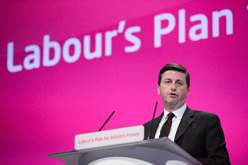 Douglas Alexander addresses delegates in the main hall during the Labour Party conference in Manchester on September 24, 2014 (AFP Photo/Leon Neal)