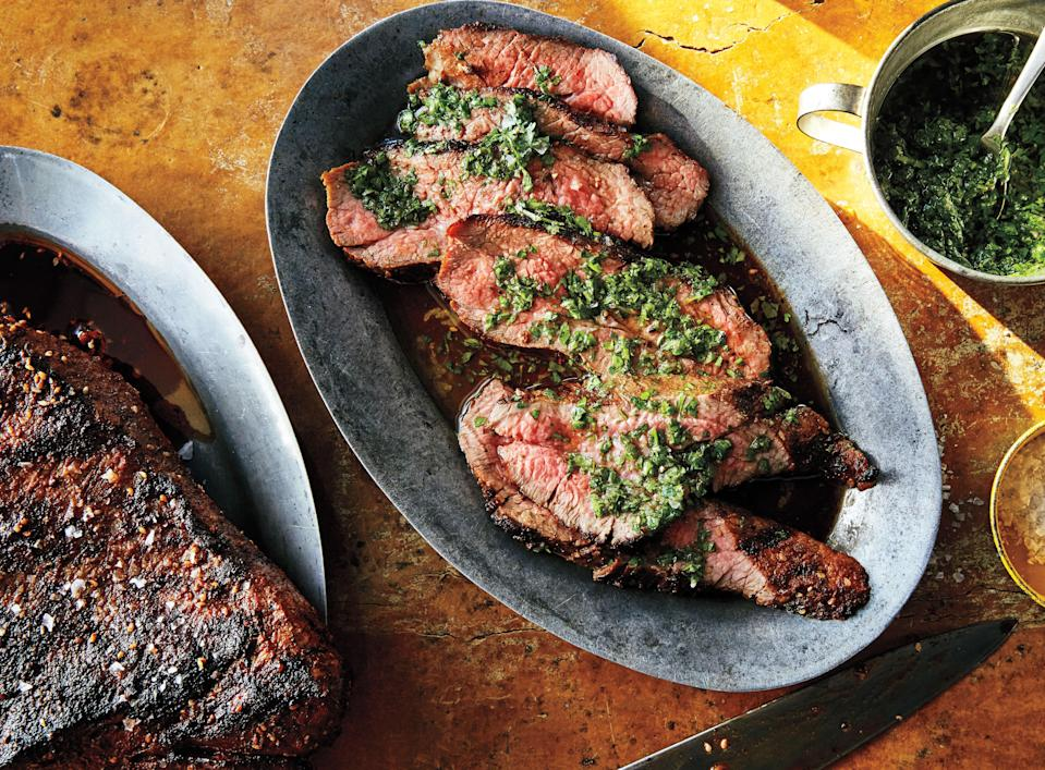 """The tri-tip is a tender, triangular cut of beef tucked near the sirloin. There are only two per steer, so if your butcher is out, go with sirloin. <a href=""""https://www.bonappetit.com/recipe/tri-tip-with-chimichurri?mbid=synd_yahoo_rss"""" rel=""""nofollow noopener"""" target=""""_blank"""" data-ylk=""""slk:See recipe."""" class=""""link rapid-noclick-resp"""">See recipe.</a>"""