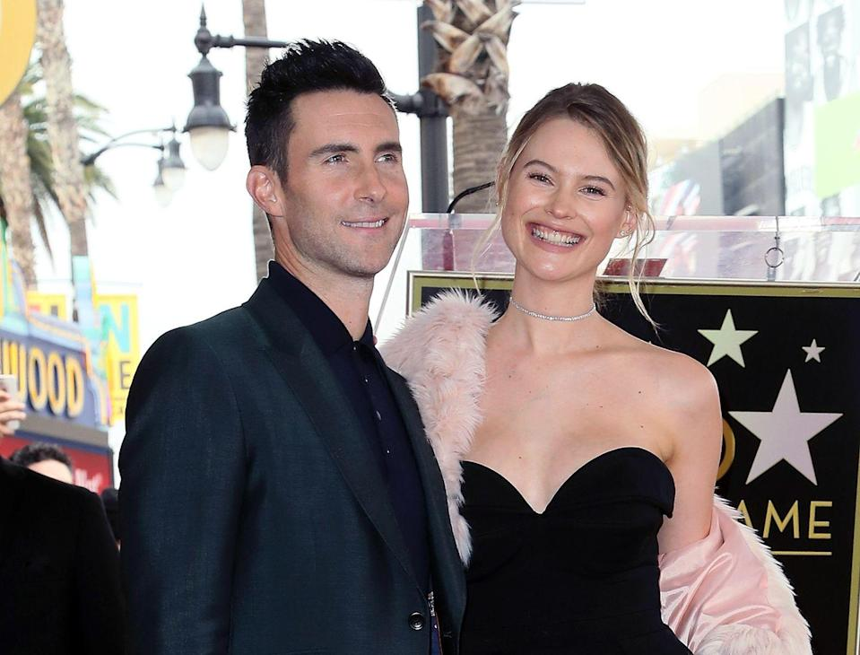"<p>Adam Levine and Behati Prinsloo welcomed Gio Grace in February 2018, their second daughter together (the couple are also parents to Dusty Rose). <em>The Voice </em>coach <a href=""https://people.com/parents/behati-prinsloo-adam-levine-kids-rare-picture/"" rel=""nofollow noopener"" target=""_blank"" data-ylk=""slk:said"" class=""link rapid-noclick-resp"">said</a> on <em>The Ellen DeGeneres Show</em> in May that Dusty was pretty smitten with her new sister, adding: ""She's obsessed with Gio. Every morning when she wakes up, the first thing she says is, 'Gio, Gio, Gio, Gio!'""</p>"