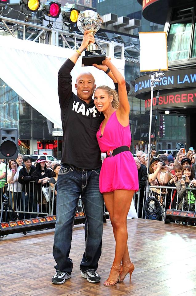 "Hooray for Hines! Pittsburgh Steelers player Hines Ward rose above the rest -- along with pro partner Kym Johnson -- and took home the mirror ball trophy for Season 12 of ""Dancing With the Stars"" on Tuesday night. The champion duo visited ""Good Morning America"" in Manhattan's Times Square the next morning. Taylor Hill/<a href=""http://www.gettyimages.com/"" target=""new"">GettyImages.com</a> - May 25, 2011"
