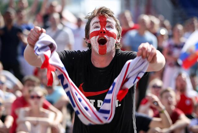 <p>An England fan celebrates as the Three Lions put in a commanding performance against Panama. </p>