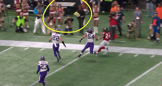Pam Oliver moved quickly to get out of the way when Devonta Freeman got close. (Fox screen shot)