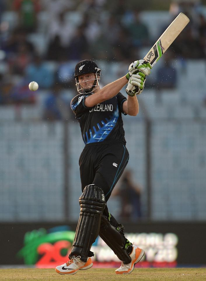 CHITTAGONG, BANGLADESH - MARCH 24:  Martin Guptill of New Zealand bats during the ICC World Twenty20 Bangladesh 2014 Group 1 match between New Zealand and South Africa at Zahur Ahmed Chowdhury Stadium on March 24, 2014 in Chittagong, Bangladesh.  (Photo by Gareth Copley/Getty Images)