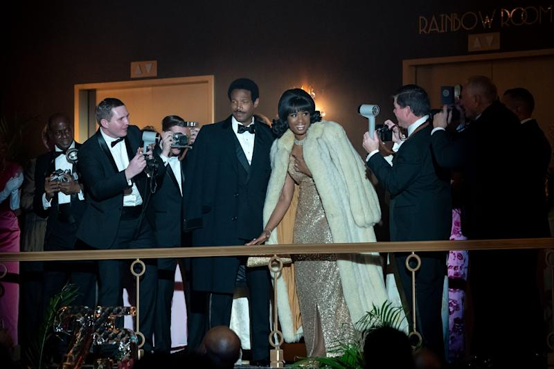 "Marlon Wayans (center) as Ted White and Jennifer Hudson as Aretha Franklin in ""Respect,"" in a scene set at New York's Rainbow Room."