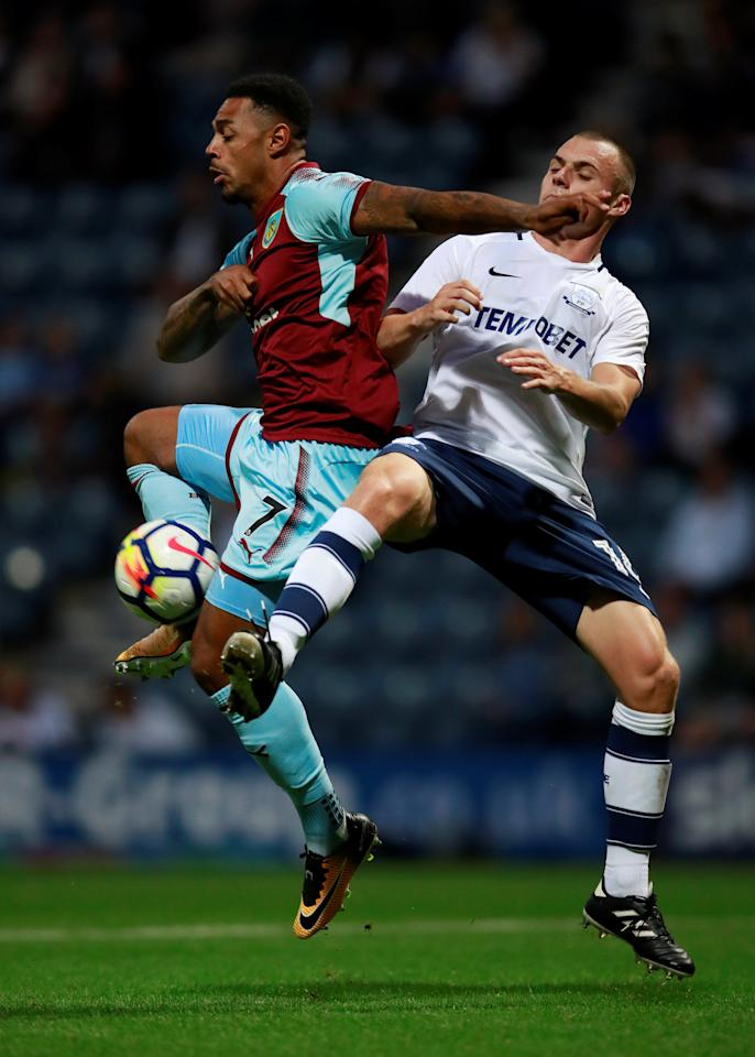 Soccer Football - Preston North End vs Burnley - Pre Season Friendly - Preston, Britain - July 25, 2017   Burnley's Andre Gray in action with Preston's Liam Grimshaw     Action Images via Reuters/Jason Cairnduff