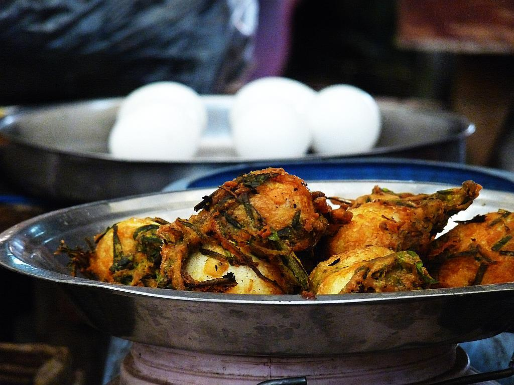 Fried egg pakoras beckon temptingly at lunchtime. We were spoiled for choice.