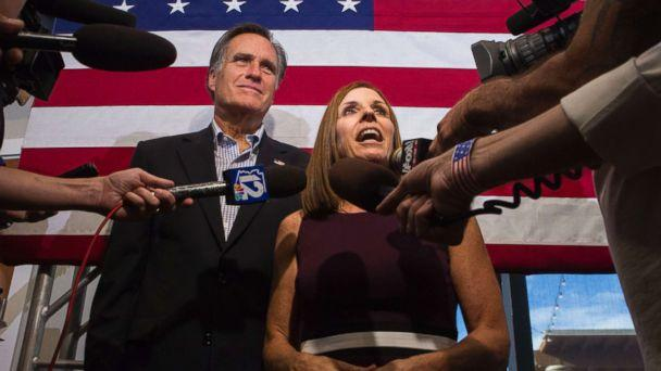 PHOTO: Rep. Martha McSally along with former Republican presidential nominee Mitt Romney, right, answers questions from the media during a Get Out the Vote Rally at the Gilbert Falls Event Center in Gilbert, Ariz., Oct. 12, 2018. (Darryl Webb/AP)