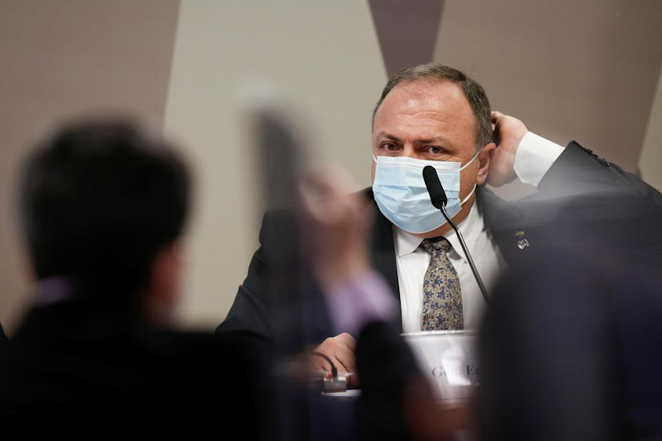 Former Brazil's Health Minister Eduardo Pazuello attends a meeting of the Parliamentary Inquiry Committee (CPI) to investigate government actions and management during the coronavirus disease (COVID-19) pandemic, at the Federal Senate in Brasilia, Brazil May 20, 2021. REUTERS/Adriano Machado