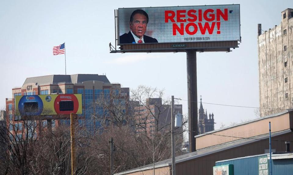 A billboard in Albany calling on Cuomo to resign in the wake of allegations that he sexually harassed young women.