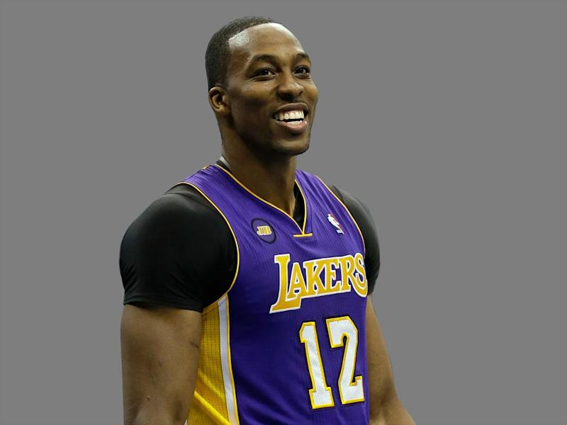 Dwight Howard headshot, as Los Angeles Lakers center, graphic element on gray
