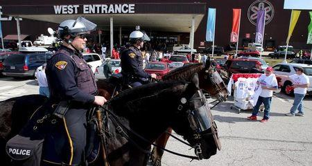 Cleveland mounted police look on prior to Republican U.S. presidential candidate Trump speaks at a campaign rally  in Cleveland