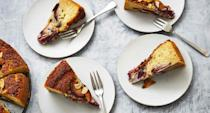 """<p><strong>Recipe: </strong><a href=""""https://www.southernliving.com/recipes/plum-cake"""" rel=""""nofollow noopener"""" target=""""_blank"""" data-ylk=""""slk:Plum Cake"""" class=""""link rapid-noclick-resp""""><strong>Plum Cake</strong></a></p> <p>You can call this breakfast or dessert—we won't judge. Whatever you do, don't neglect the sprinkling of slivered almonds on the top. They'll create the most delicious crunch with every bite.</p>"""