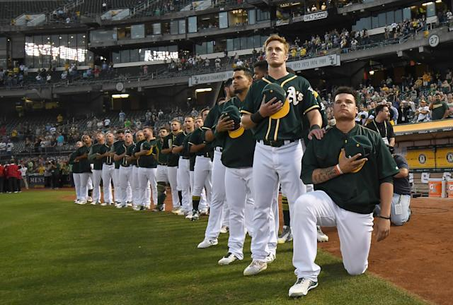 "Bruce Maxwell, who knelt for the national anthem in 2017 with the <a class=""link rapid-noclick-resp"" href=""/mlb/teams/oakland/"" data-ylk=""slk:Oakland A"">Oakland A</a>'s, spent the past season in Mexico. (Photo by Thearon W. Henderson/Getty Images)"